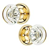 Crystal Privacy Doorknob – Luxurious Locking Set w/Inner & Outer Crystal Door Knobs, Privacy Pin, Rosette Plates, Split Spindle & Installation Kit – for Bathroom Bedroom (Privacy, Polished Brass)
