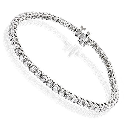 Luxurman Unisex 14k Round Natural 1.5 Ctw Diamond Tennis Bracelet (White Gold) by Luxurman