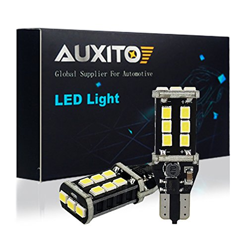 AUXITO 912 921 LED Backup Light Bulbs High Power 2835 15-SMD Chipsets Extremely Bright Error Free T15 906 W16W for Back Up Lights Reverse Lights, 6000K White (Pack of 2)