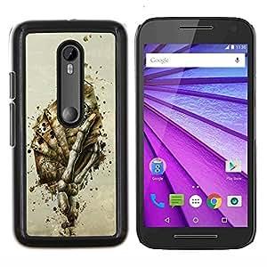 "For Motorola MOTO G3 ( 3nd Generation ) , S-type Esqueleto mano de cartas"" - Arte & diseño plástico duro Fundas Cover Cubre Hard Case Cover"
