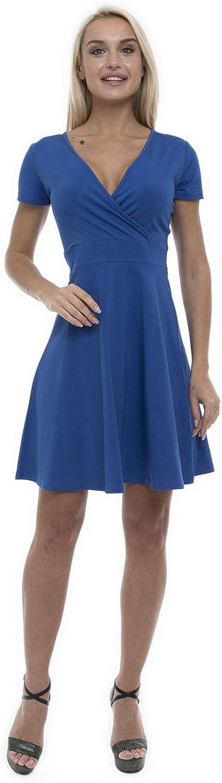ABAKUHAUS Damen Wickelkleid A Linien Sommerkleid mit Kurze /Ärmel V Ausschnitt