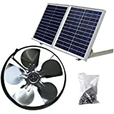 DC HOUSE 25W Solar Powered Attic Ventilator Gable Roof Vent Fan with 30W Foldable Solar Panel