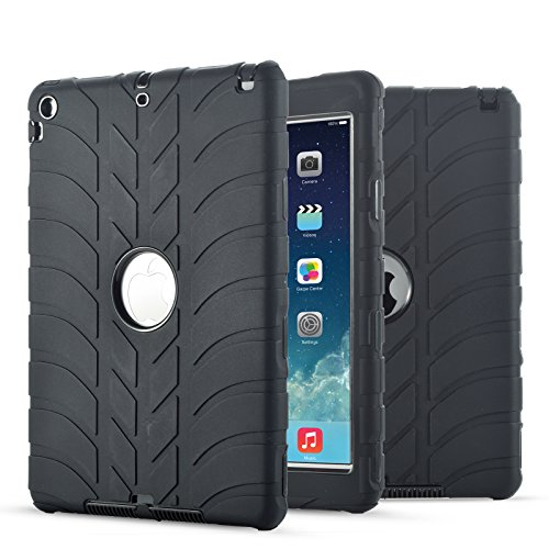 - New iPad 9.7 Inch 2018/2017 Case, UZER Tire Pattern Shockproof Anti-Slip Silicone High Impact Resistant Hybrid Three Layer Hard PC+Silicone Armor Protective Case Cover for New iPad 9.7 inch 2018/2017
