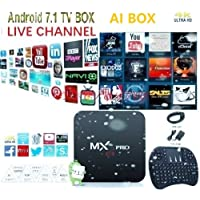 [2018 Latest Version] Plug in use USA Version KD 17.6 Android 7.1.2 MX PRO WI-FI AI TV Box Support 3D 4K HD + Wireless Mini Keyboard