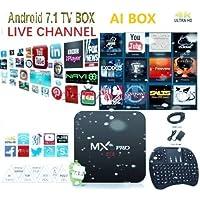 [2018 Latest Version] Plug in use USA Version KD 17.6 Android 7.1.2 MX PRO WI-FI AI TV Box Support 3D 4K HD + Wireless Mini Keyboard