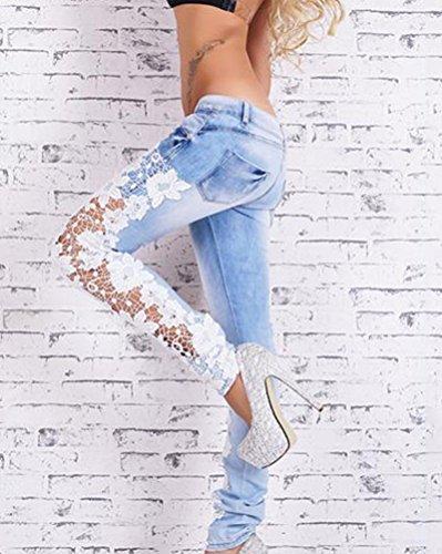 Encaje Señoras Vaqueros Pantalones Pantalones Como Skinny Las Cosido Lápiz De Imagen Mujeres Denim RwtFCqp4