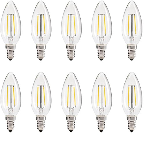 YMTC C35 LED Candelabra Bulbs,Dimmable E12 Base 2W 20W Equivalent White AC 110V for Candlestick, Pendant Lamp 10pcs