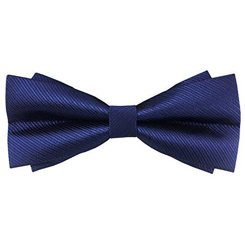 ee465fd68b64 Mens Stripe Pre-tied Bowtie Solid Handmade Bow Ties Various Colors Dark  Blue Double-