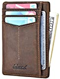 Slim Wallet RFID Front Pocket Wallet Minimalist Secure Thin Credit Card Holder (Crazy Horse Deep Brown(Y Style)
