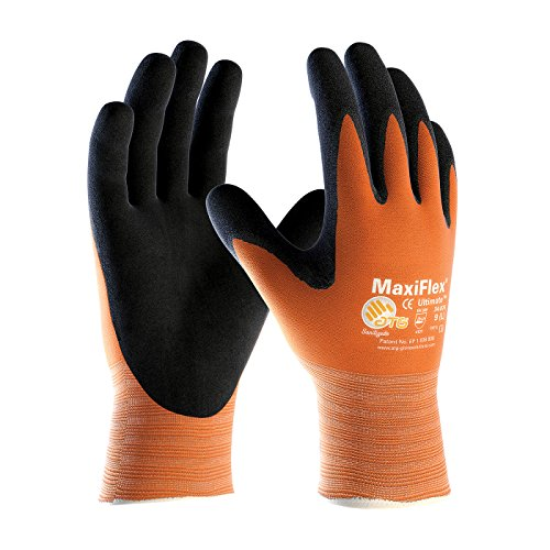 MaxiFlex Ultimate 34-8014/L Hi-Vis Seamless Knit Nylon Glove with Nitrile Coated Micro-Foam Grip on Palm and Fingers