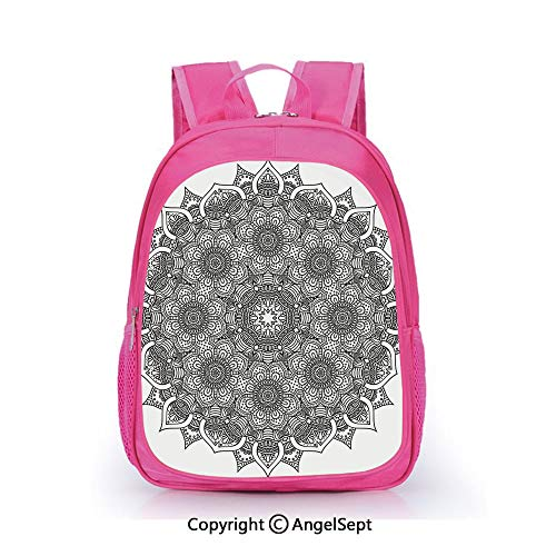Children Schoolbag Cute Animal Cartoon Custom,Flower and Leaf Old Arabic Ottoman Chart Life Web Meditation Print Black White,15.7inch,Fashion Lightweight School Backpack