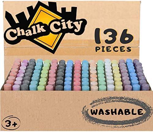 LYGZTing 144 Count 18 Colors Jumbo Chalk Set Non-Toxic Washable Dustless Chalk for Kid and Adult Sidewalk Chalk for Street Yard Kids Drawing School Games Gift Sidewalk Chalk Bulk Blackboard