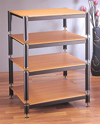 (BL Series Stackable Audio Video Rack (Gold w Oak Shelf))