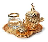 The Silk Road Trade - Premium Plated Coffee Catering Set for Turkish, Arabic, Greek and Espresso Coffee serving set, Finjan (demitasse cup), Water Glass and Lid - For 1 person - 6 pieced (Gold)