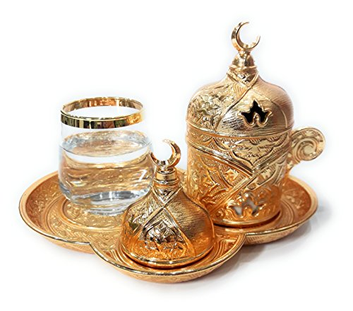 - The Silk Road Trade - Premium Plated Coffee Catering Set for Turkish, Arabic, Greek and Espresso Coffee serving set, Finjan (demitasse cup), Water Glass and Lid - For 1 person - 6 pieced (Gold)