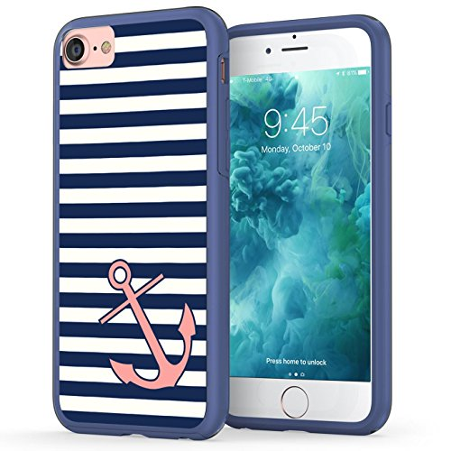 iPhone 7 Case, Anchor iPhone 8 Case, True Color Nautical Coral Anchor on Stripes Hybrid Hard Back Cover + Soft Slim Durable Protective Shockproof Rubber TPU Bumper - Navy Blue