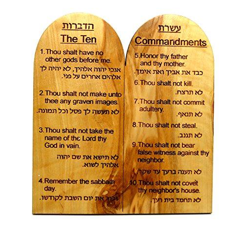 Olive Wood Ten Commandments, Hebrew/English ()