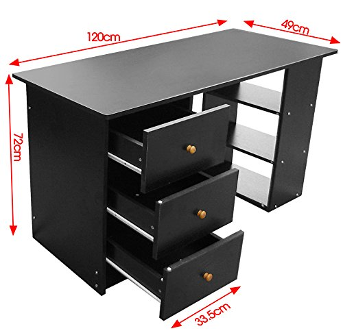 Tinxs HOME OFFICE COMPUTER DESK TABLE 3 DRAWERS SHELVES BLACK