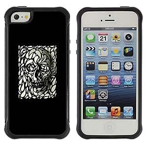 "Pulsar iFace Series Tpu silicona Carcasa Funda Case para Apple iPhone SE / iPhone 5 / iPhone 5S , Cráneo Arte Negro Blanco Deep Dark Goth metal"""