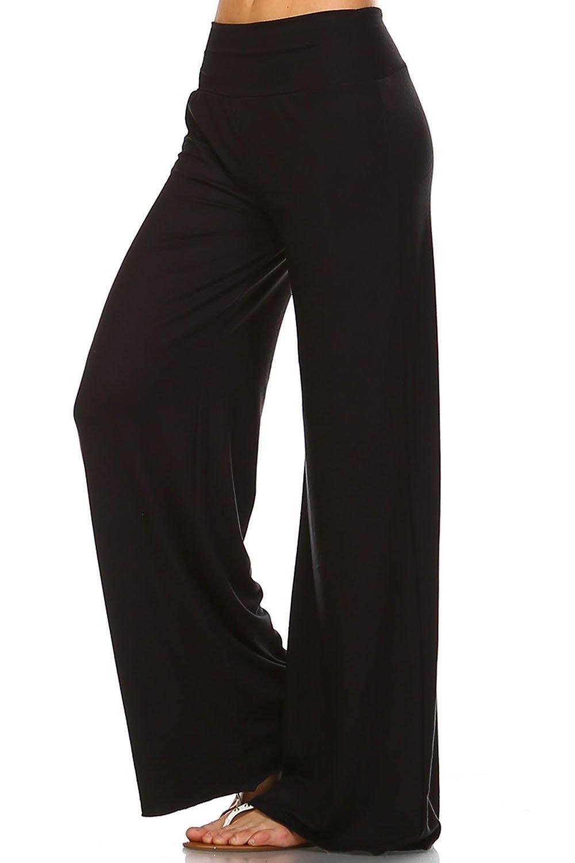Simplicitie Women's Plus Size Casual Wide Leg High Waist Bohemian Palazzo Pants - Black, 2X - Made in USA