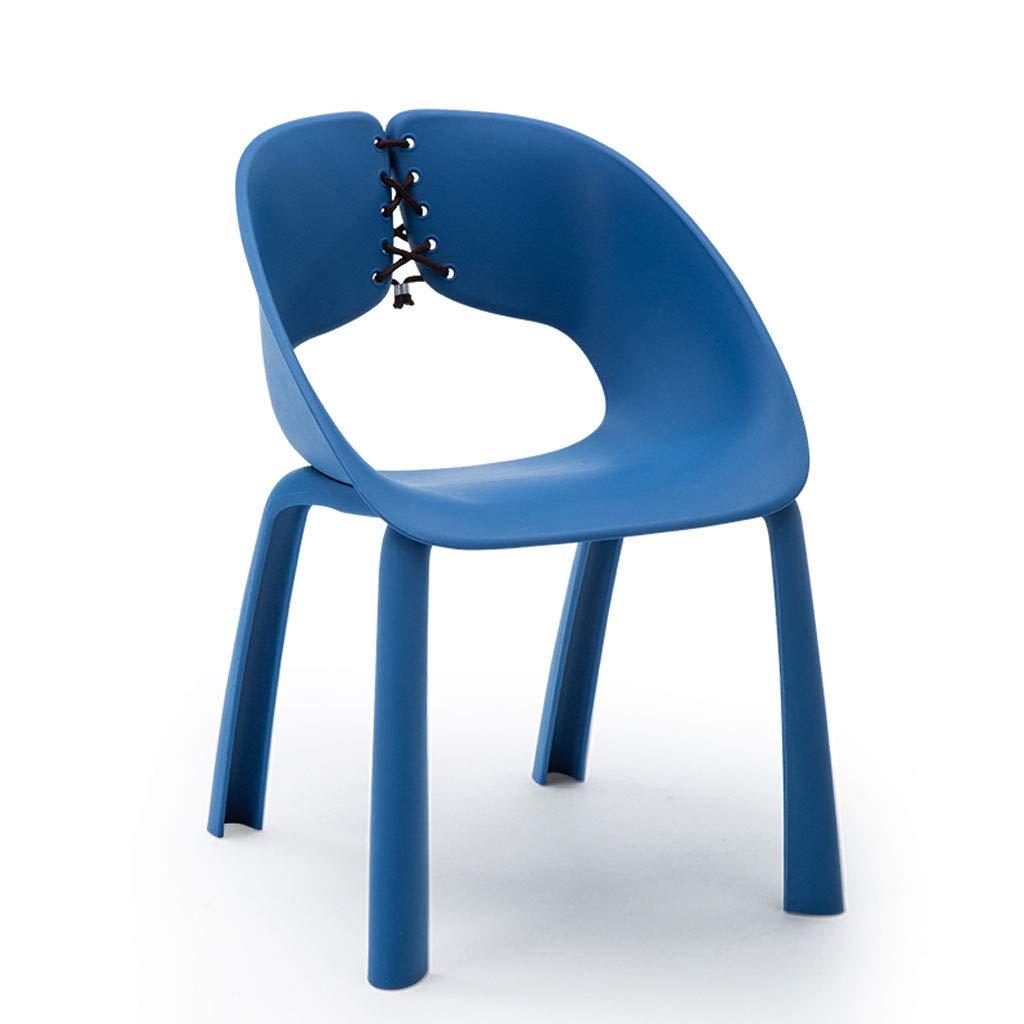 bluee L56CMXW53.5CMXH78CM CHX Nordic Minimalist Backrest Chair Plastic Strap Type Personality Home Chair C (color   Black, Size   L56CMXW53.5CMXH78CM)