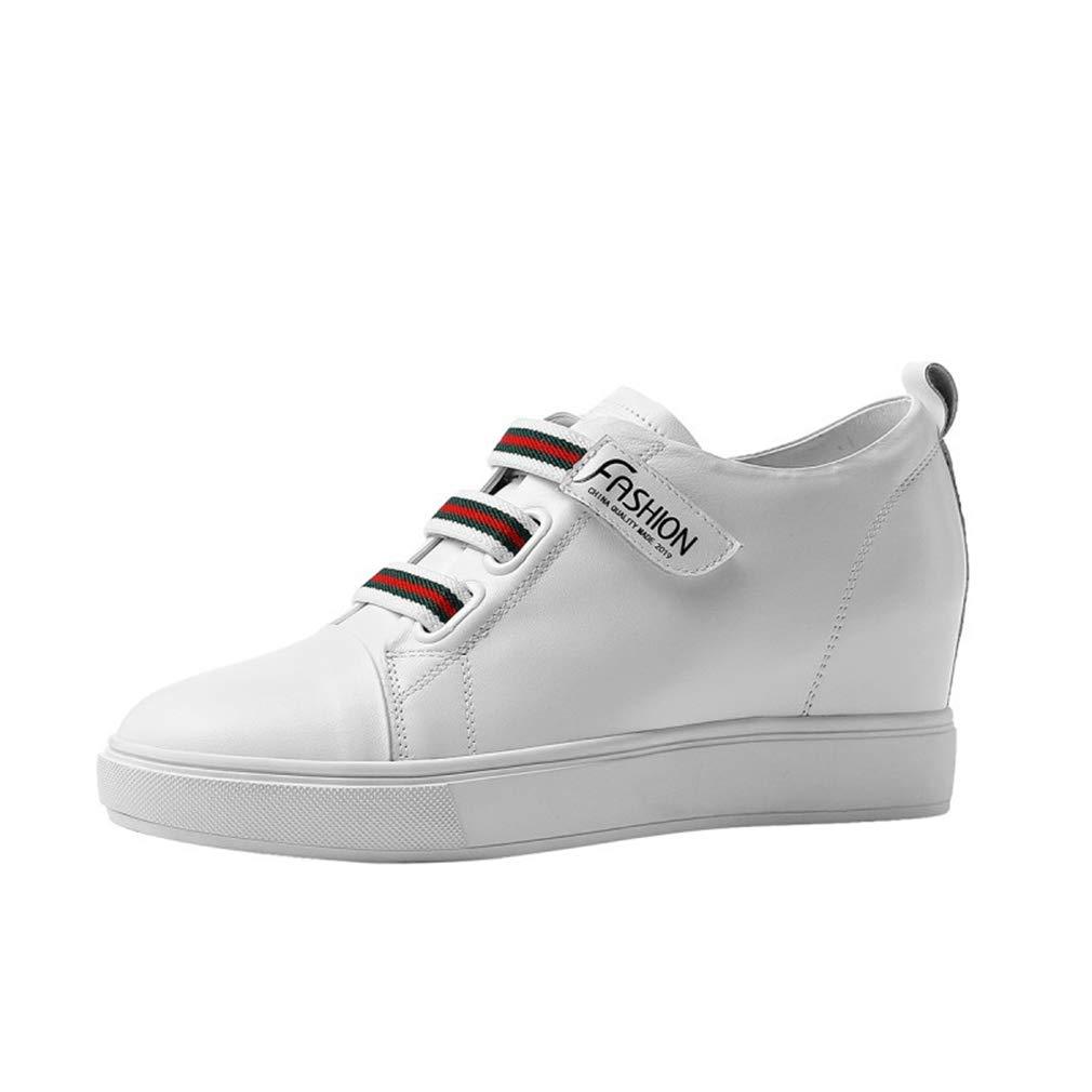 YXB Frauen Leder Wedge Schuhe 2019 2019 2019 Spring Wedge Schuhe Spitze Up Damen ' Schuhe Wedges Schuhe Runde Flat-Schuhe Weiß schwarz Weiß 38 44fcc0