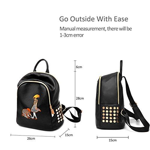 Backpack PU Fashion Schoolbag Girls Travel Daypack Black Women Satchel amp;DORIS Leather Bag Black Shoulder NICOLE 5 Classic cUqnX47