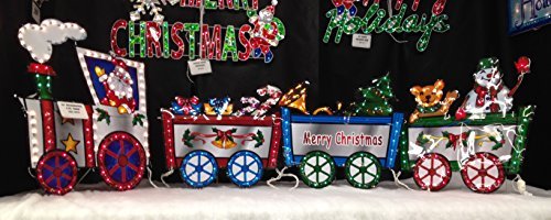 amazoncom 118 h x 36 h lighted merry christmas train with santa driver pulling presents snowman teddy bear candy canes gift boxes outdoor or indoor - Lighted Train Christmas Decoration