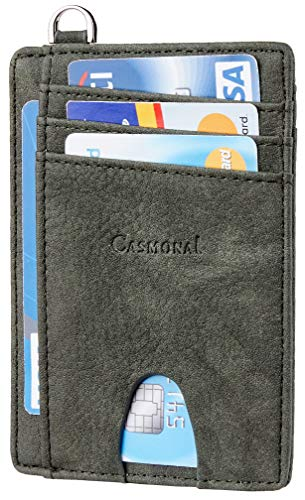 Casmonal Genuine Leather Slim Minimalist Front Pocket Wallets RFID Blocking Credit Card Holder for Men & Women (Castle Green)