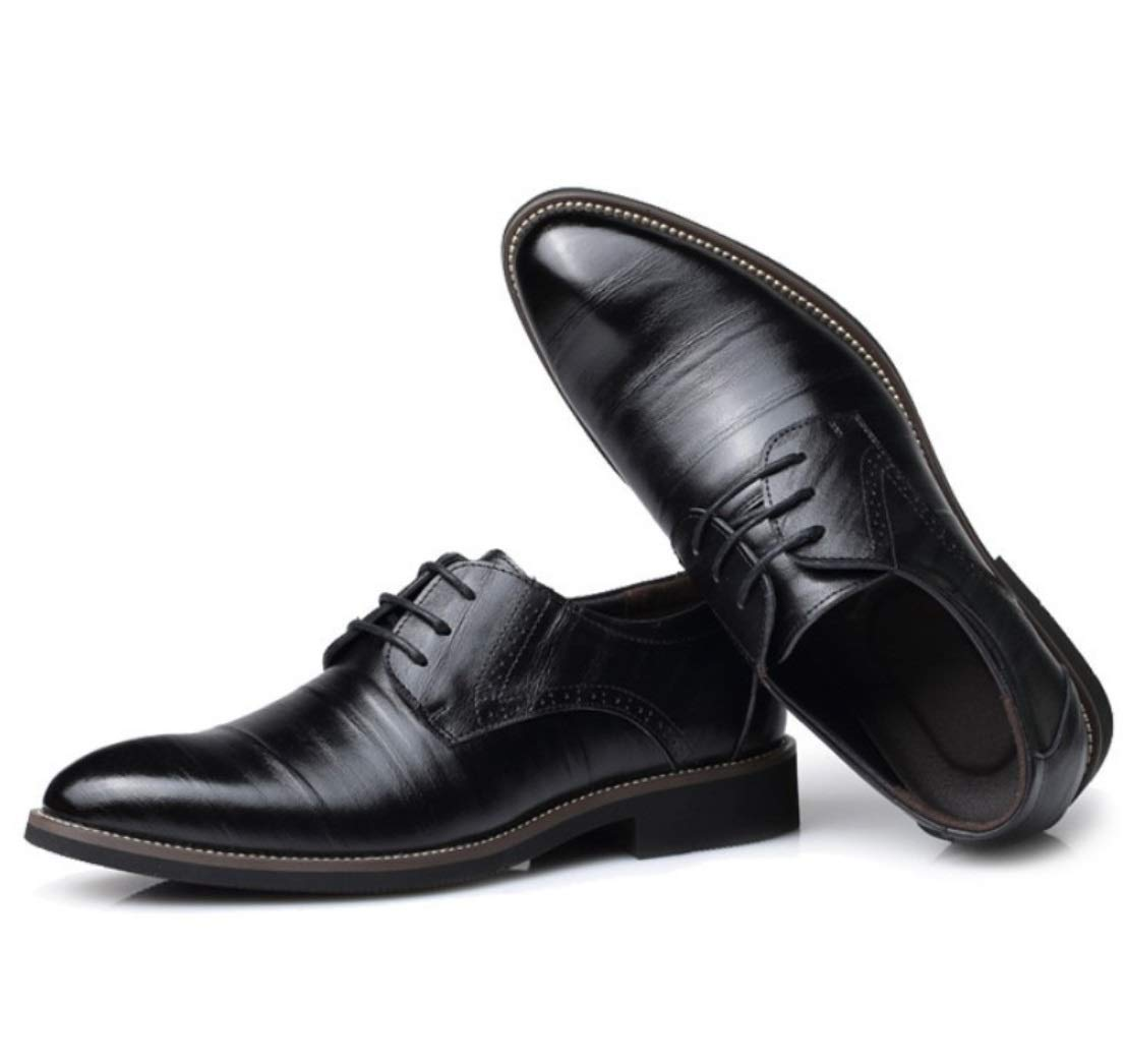 SHANGWU Men's Dress Shoes England Pointed Leather Tie Business Casual Retro Shoes Men's Wedding Shoes (Color : Black, Size : 46) by SHANGWU (Image #1)