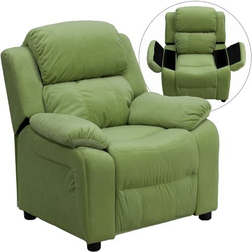 B006FUFQGW Flash Furniture Deluxe Padded Contemporary Avocado Microfiber Kids Recliner with Storage Arms 51uNhU6dbuL