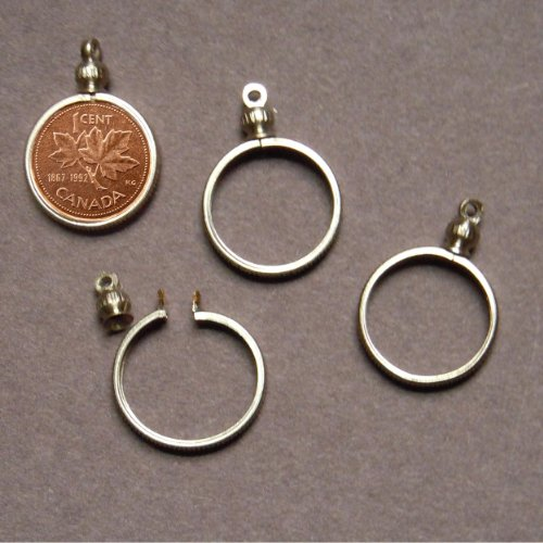 BeadExplosion Canadian Penny / 1 Cent Coin Holder Bezel ~ for Charm, Necklace, Pendant, Display (Pack of 4) (Canadian Pennies)