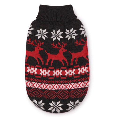East Side Collection Acrylic Caribou Creek Dog Sweater Small 12-Inch Black