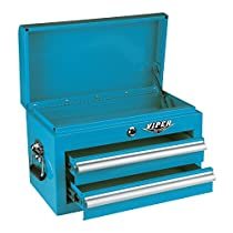 Viper Tool Storage V218MCTL 18-Inch 2-Drawer 18G Steel Mini Storage Chest w/ Lid Compartment, Teal
