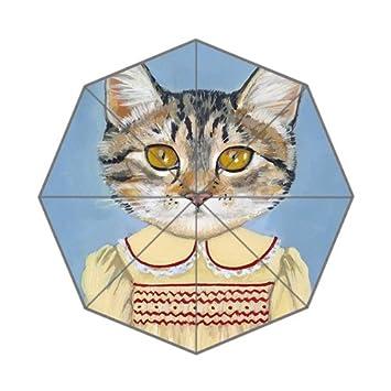 Bonito paraguas plegable para gatos y gatos de Kawaii en la ropa, diseño único