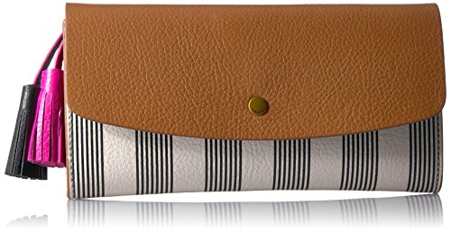 Haven Large Flap Wallet Wallet, Black Stripe, One Size by Fossil