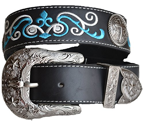 Fancy Concho (Western Embroidery Stitched Men Longhorn Cross Buckle Belt (L,)