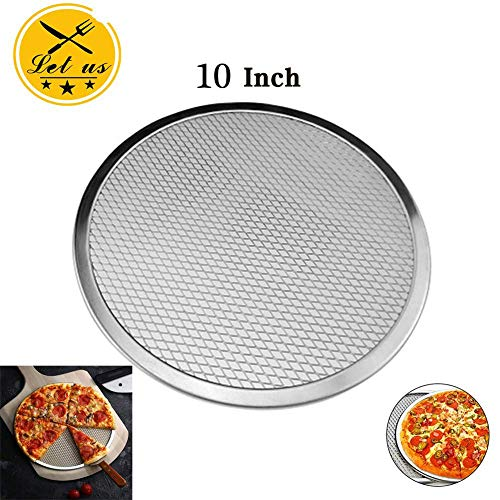 - Seamless Aluminum Pizza Screen,Round Chef's Baking Screen,Commercial Grade Pizza Pan Supplies,Mesh Pizza Dish,Oven Baking Tray Net,2 PACK (10 In)