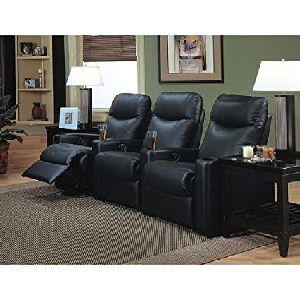 Coaster Showtime Collection Black Leather Motion Home Theater Sofa Couch  Chair