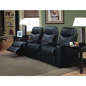 Amazon Com Coaster Showtime Collection Black Leather