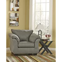 Darcy Collection 7500520 46 Chair with Fabric Upholstery Plush Padded Arms Tapered Block Feet and Contemporary Style in Cobblestone