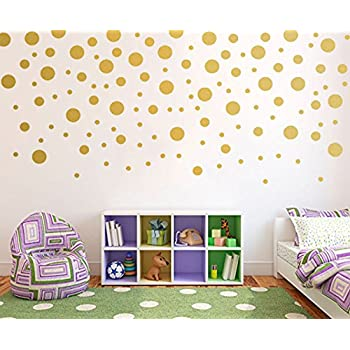 Beautiful Gold Wall Decal Dots(120pcs) Vinyl Removable Art Round Stickers For Nursery  Decor Part 24