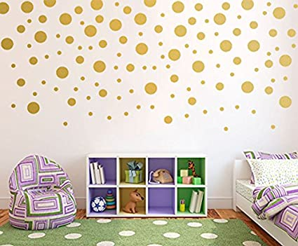 Gold wall decal dots120pcs vinyl removable art round stickers for nursery decor