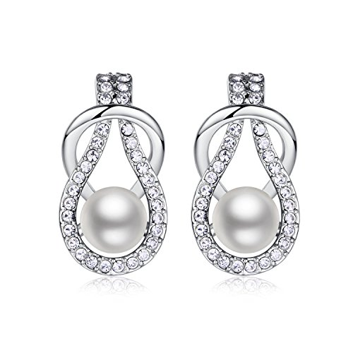 18k White Plated Swarovski Elements Pearl Stud Earrings for Women (White) ()
