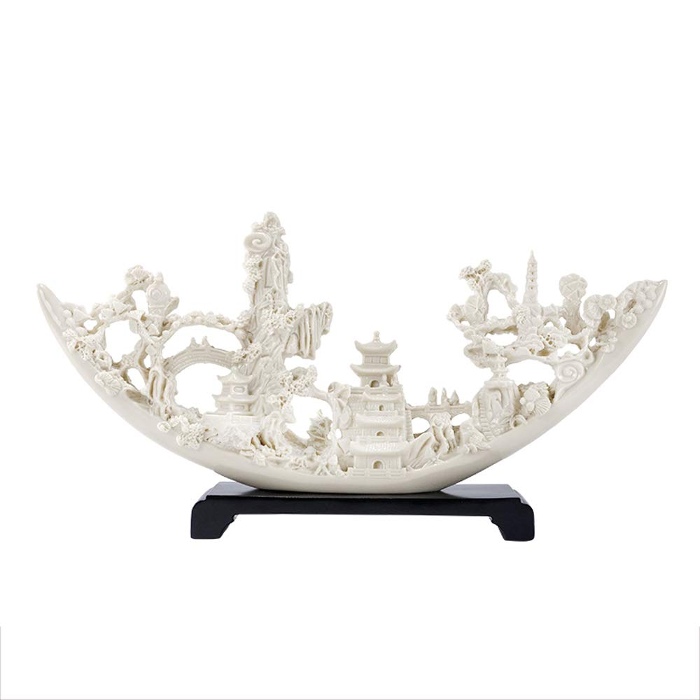 MS Crafts - Chinese Creative Ivory Ornaments Home Living Room Porch Office Decorations Show Lucky Opening Gifts [Four Optional] @ (Style : D)
