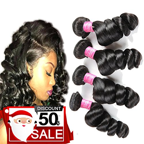 4 Bundles of Brazilian Hair Loose Wave Remy Human Hair 18 20 22 24 Inches 400grams Grade 8A Wet and Wavy Virgin Human Hair Weave Extensions Natural Black Color