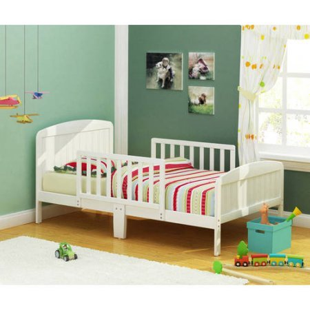 Rack Furniture Russell Children Harrisburg XL Guardrail Wooden Toddler Bed Includes 2 Center Mount Guard Rails, (Choose Your Finish) - Warm White