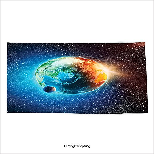 Vipsung Microfiber Ultra Soft Bath Towel Outer Space Decor Planet Earth In Sun Rays Elements Astronomy Atmosphere Sky Satellite Moon Lunar Image Inch Orange And Blu For Hotel Spa Beach Pool Bath