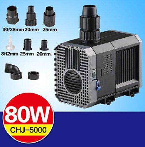 CHJ-5000 POMPA RICIRCOLO RISALITA SOMMERSA 80W 5000L/H ACQUARIO LAGHETTO SUNSUN