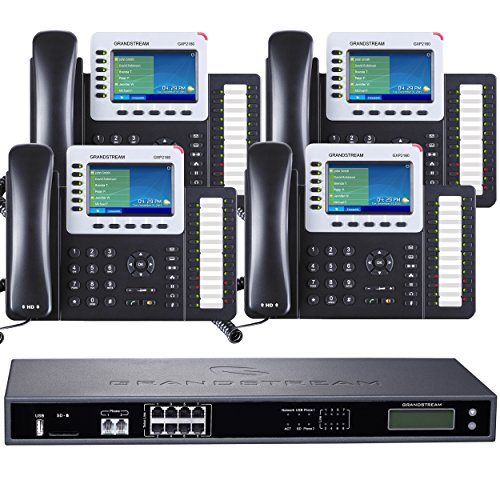 Business Phone System by Grandstream 8-Line Ultimate Pack: Color Phones Including Auto Attendant, Voicemail, Cell & Remote Phone Extensions, Call Recording & Free Dialtone for 1 Year (4 Phone Bundle)